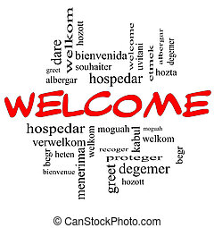 Welcome Foreign Language Word Cloud in Red & Black - Welcome...