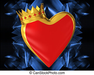 Red heart with a golden crown