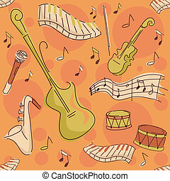 Musical Instruments Background - Background Seamless...