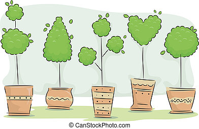 Topiaries - Illustration Featuring an Assortment of...