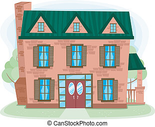 Brick House - Illustration of a Multilevel House Made of...