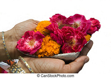 Devotional Offering - Palm full of flowers for offering with...