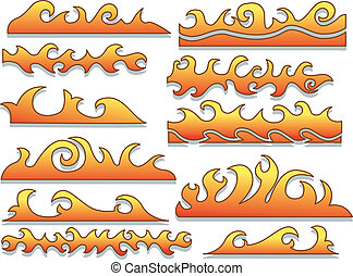 Flames Design - Illustration Featuring Flames with Different...