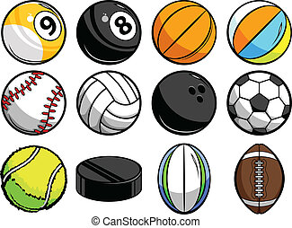 Collection of Vector Sports Balls - Vector Illustrations of...
