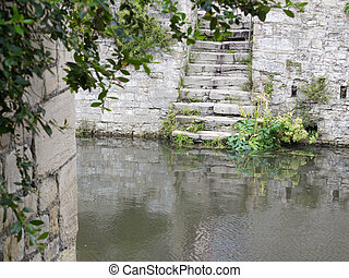 River stairwell - A stairwell by the river in Bayeux,...