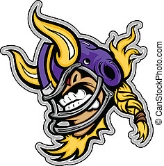 Graphic Vector Sports lmage of a  Snarling American Football Viking Mascot with Horns on Football Helmet