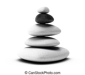 stones pyramid with four white pebbles plus one black pebble...