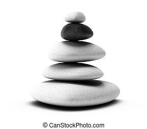stones pyramid with four white pebbles plus one black pebble...