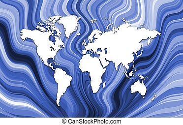 Map on blue