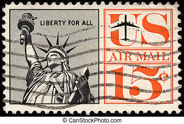 US stamp - UNITED STATES - CIRCA 1959: depicting the statue...