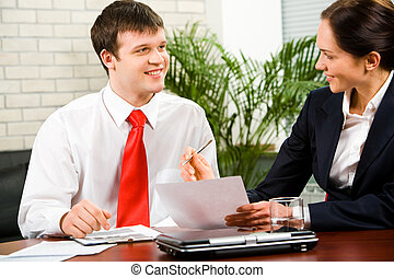 Discussion of business-plan - Portrait of business man and...