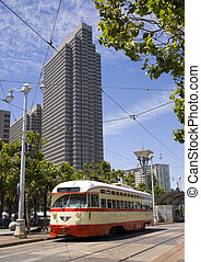 Trolley CAR - San Francisco Trolley Car moves through the...