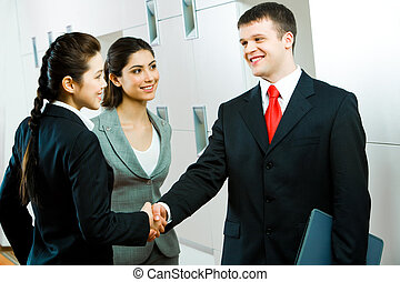 Necessary deal - Image of confident business person shaking...