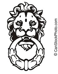lion - door-handle-lion illustration