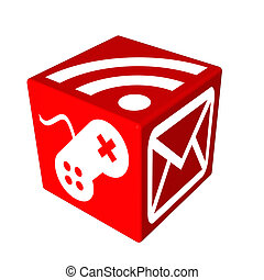 3d red cube box web - 3d red cube box for web design