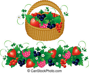 Basket of berries - Basket of juisy berries,