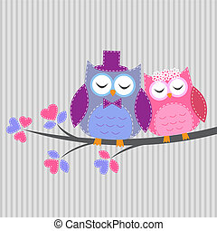 Couple owls in loveVector card in handiwork style