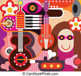 Abstract Music Art - Abstract Music Background - vector...