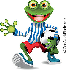 frog football player - funny frog in top form with the ball