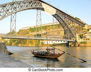 Boat near Dom Luis Bridge Porto Portugal