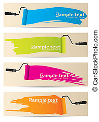 Banner set of four with paint rollers - Banner set of four...