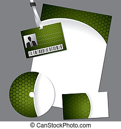 Business set with cd, card and lanyard - Hexagon business...