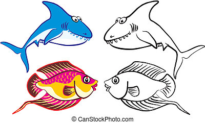 fish 2 - drawings to color - colorful tropical fish
