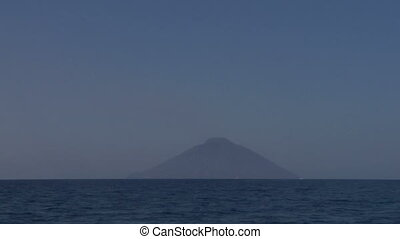 Stromboli 03 - View of the Stromboli volcano over the sea,...