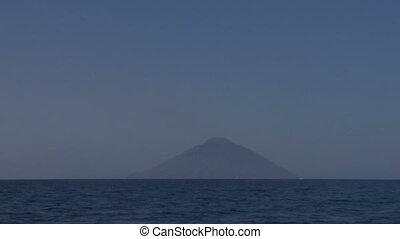 Stromboli 03 - View of the Stromboli volcano over the sea,...
