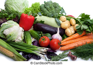 Fresh vegetables on white. - A lot of fresh, different...