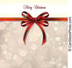 Red bow on a magical Christmas background. Vector...