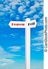 The Sign of direction to heaven or hell isolated on blue sky background