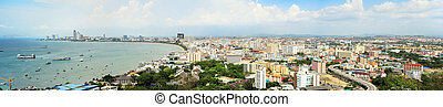 Pattaya - Skyline of Pattaya from the view point. aerial...