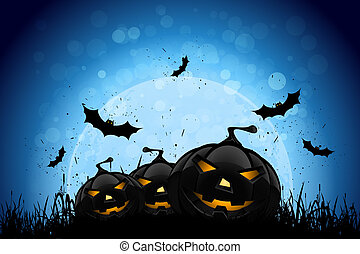 Halloween Party Background with Pumpkins and Moon -...