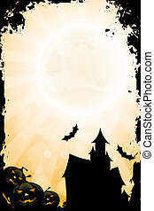 Grungy Halloween Background with Pumpkin and Haunted House -...