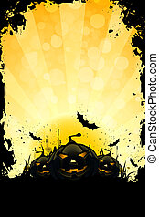 Grungy Halloween Background with Pumpkins, Bats and Full...