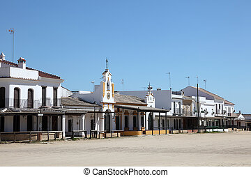 Street in town El Rocio, Province of Huelva, Andalusia,...