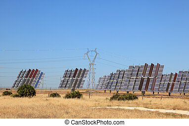 Solar power station with power pole