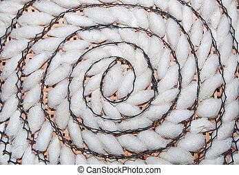 gusano de seda, patrón, Espiral, capullo, bambú, bandeja