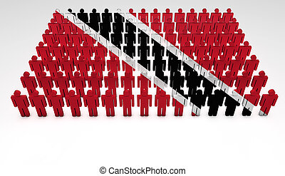 Trinidad And Tobago Parade - Parade of 3d people forming a...