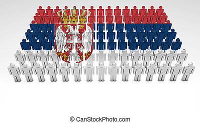 Serbian Parade - Parade of 3d people forming a top view of...
