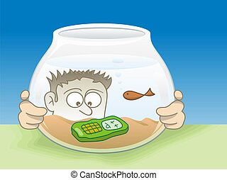 Drown cellphone - Cartoon illustration of a young man...