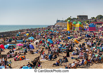 Crowded Eastbourne beach for the Airbourne show