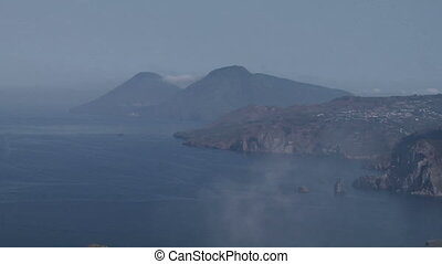 Stromboli 01 - View of the Stromboli volcano over the sea,...