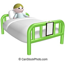 Sick child in bed - 3D illustration of a child with spots in...