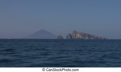 Stromboli 02 - View of the Stromboli volcano over the sea,...