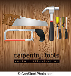 carpentry tools, with a pipe wrenches, hammer, hacksaw,...