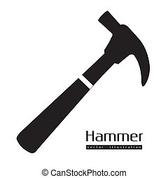 silhouette of a hammer - Illustration of silhouette of a...