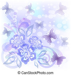 Background with butterflies and flowers - Abstract...