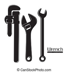 wrenches - Illustration of silhouette of pipe wrenches,...